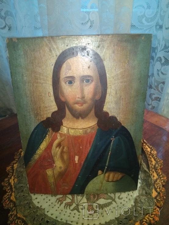 Икона Исус старинная, фото №2