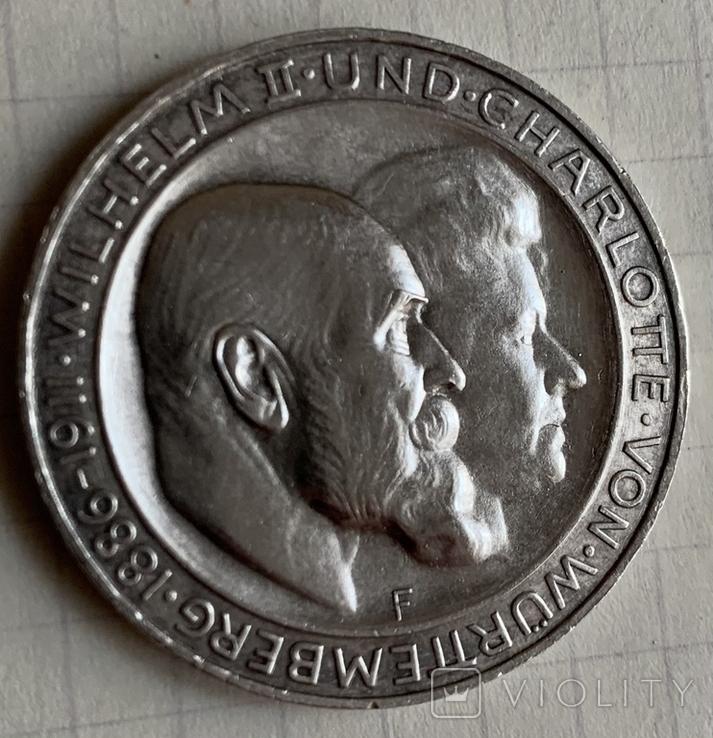 Монета Германской империи 3 марки, 1911 год, серебро 900, вес 16,67 грамм, фото №2