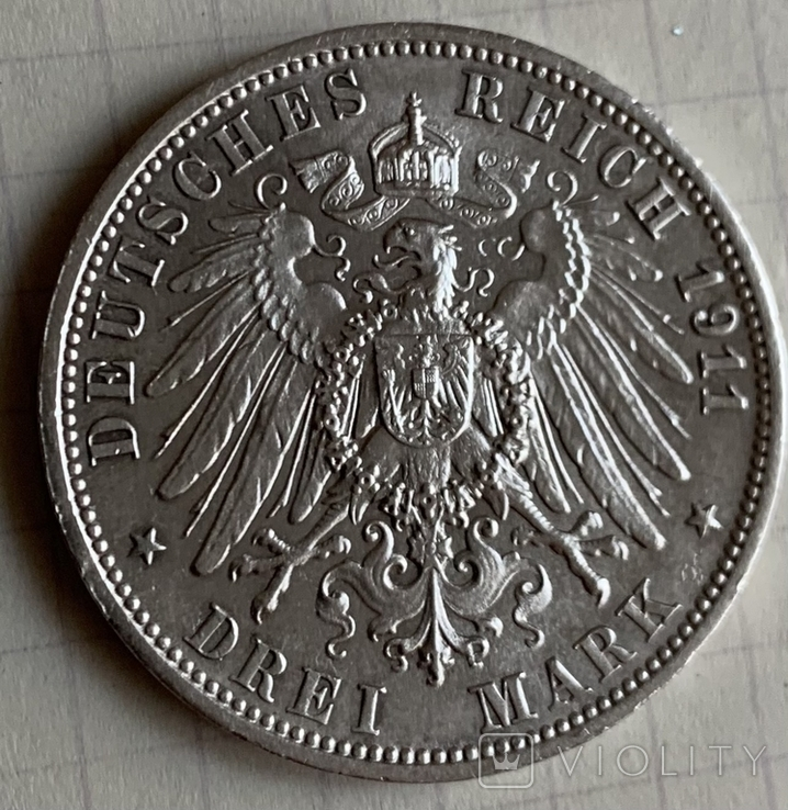 Монета Германской империи 3 марки, 1911 год, серебро 900, вес 16,67 грамм, фото №3