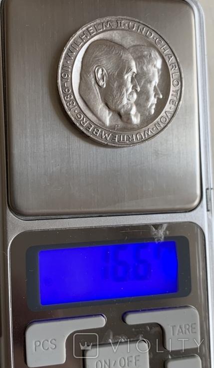 Монета Германской империи 3 марки, 1911 год, серебро 900, вес 16,67 грамм, фото №7