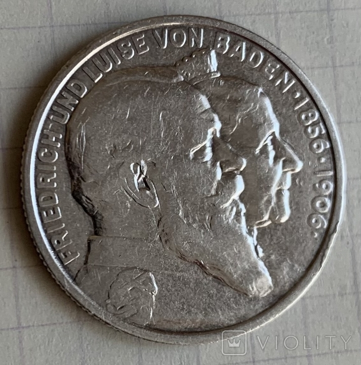 Монета Германской империи 2 марки, 1906 год, серебро 900, вес 11,03 грамм, фото №2