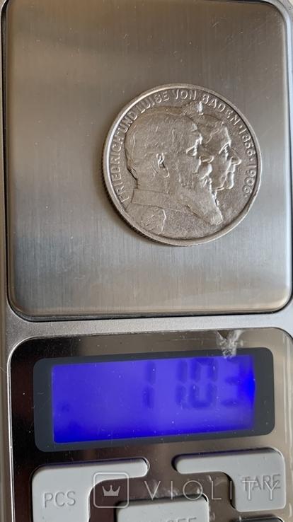 Монета Германской империи 2 марки, 1906 год, серебро 900, вес 11,03 грамм, фото №4