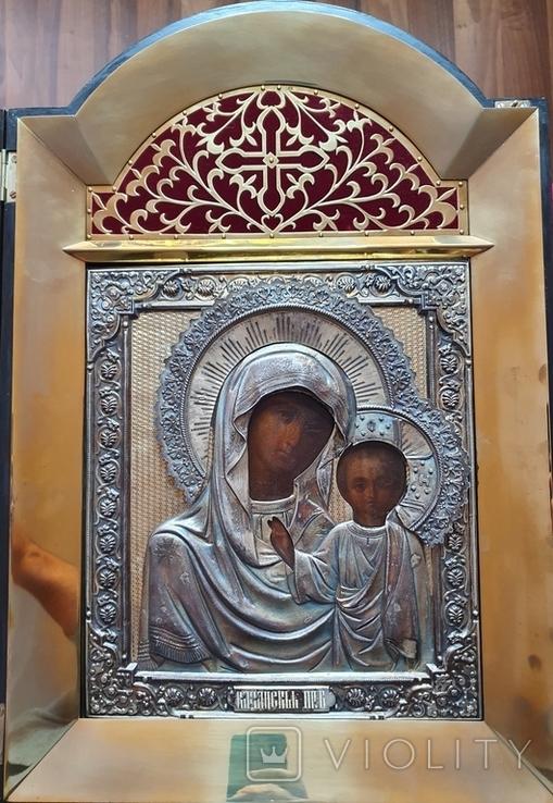 Икона Богородицы. Серебряный кованый оклад 84пр. Аналой., фото №2