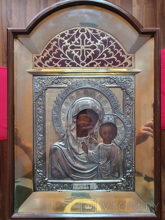 Икона Богородицы. Серебряный кованый оклад 84пр. Аналой., фото №3