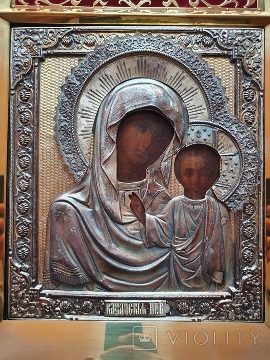 Икона Богородицы. Серебряный кованый оклад 84пр. Аналой., фото №4