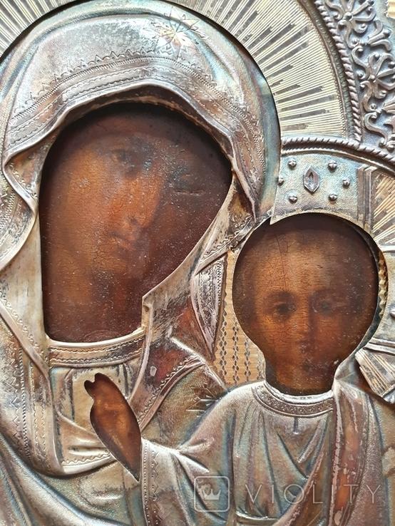Икона Богородицы. Серебряный кованый оклад 84пр. Аналой., фото №6