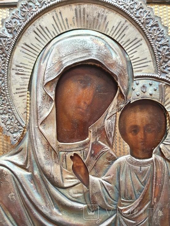 Икона Богородицы. Серебряный кованый оклад 84пр. Аналой., фото №7