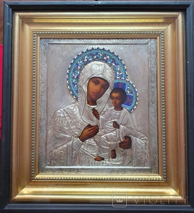 Икона Богородицы. Эмаль, серебро 84пр. Аналой., фото №2