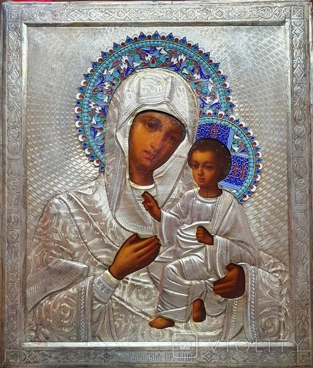 Икона Богородицы. Эмаль, серебро 84пр. Аналой., фото №3
