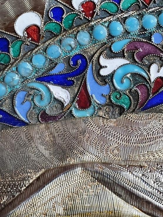 Икона Богородицы. Эмаль, серебро 84пр. Аналой., фото №7