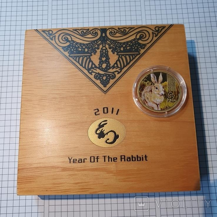 Острова Кука 2011 год 25 10г золота 9999 год Кролика, фото №4