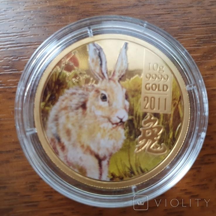 Острова Кука 2011 год 25 10г золота 9999 год Кролика, фото №7