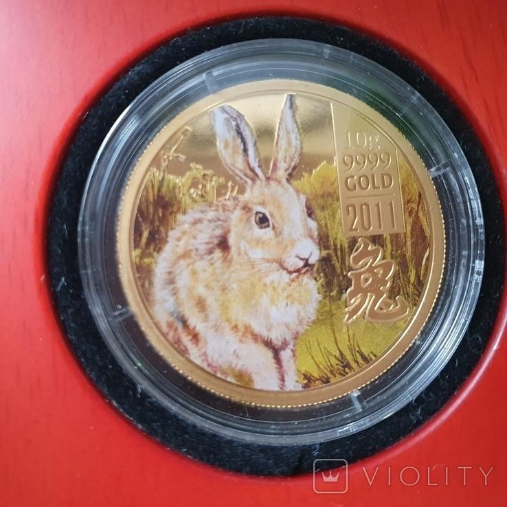 Острова Кука 2011 год 25 10г золота 9999 год Кролика, фото №2