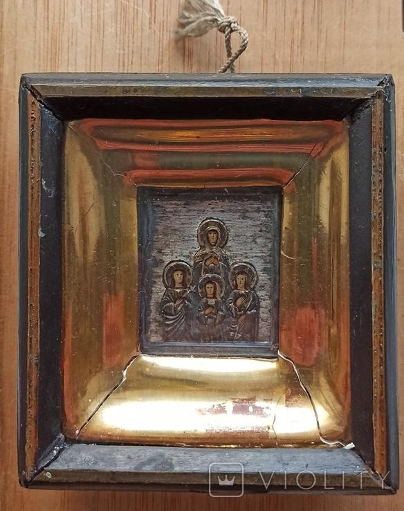 Икона Веры, Надежды, Любви и матери их Софии, оклад серебро 84 проба