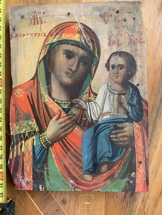 Старинная икона Смоленской Богородицы, фото №2