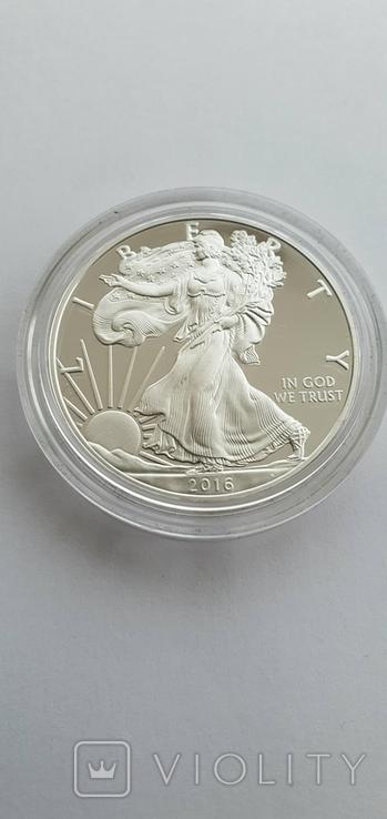 Серебрянная монета американский орёл 2016 W proof, фото №2