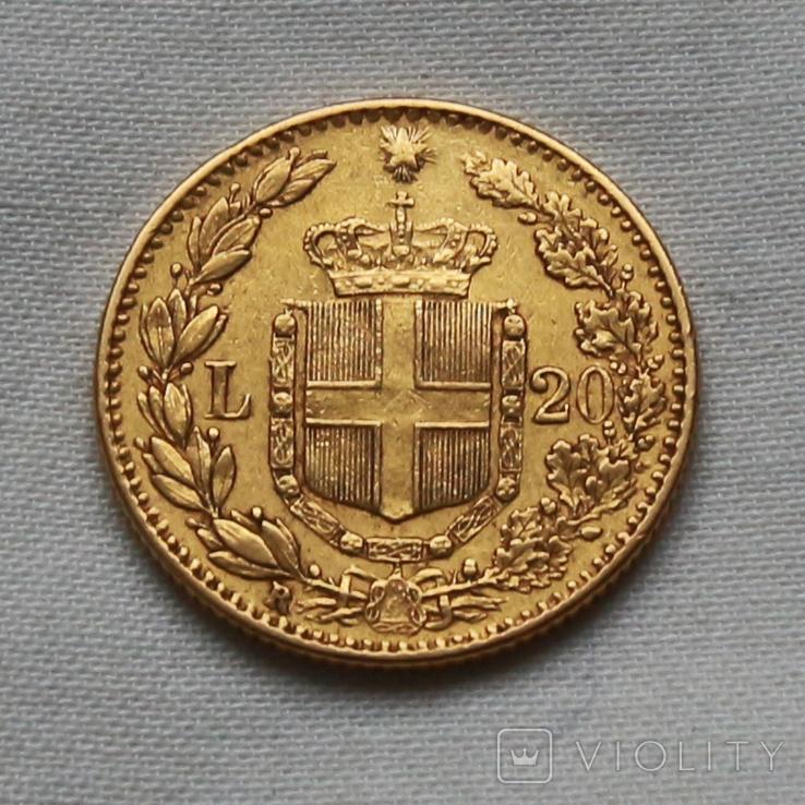 20 лир 1882 г Италия золото 6,45 г, фото №3