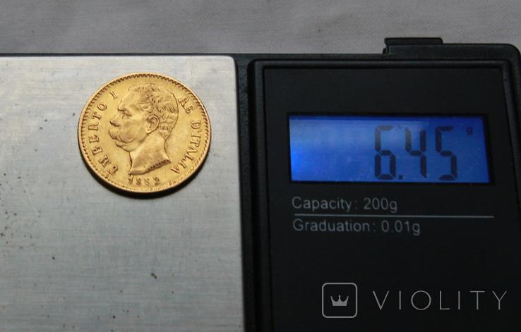 20 лир 1882 г Италия золото 6,45 г, фото №4
