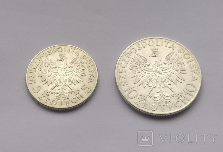 5 злотых 1934, 10 злотых 1933, фото №2