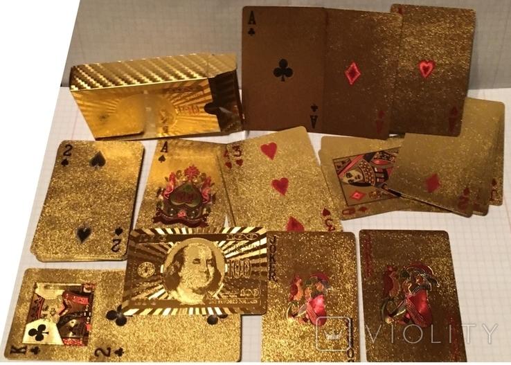 Позолоченные игральные карты (24K) 100 долларов / сувенірні гральні карти, 54 шт, фото №2