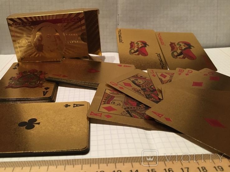 Позолоченные игральные карты (24K) 100 долларов / сувенірні гральні карти, 54 шт, фото №7