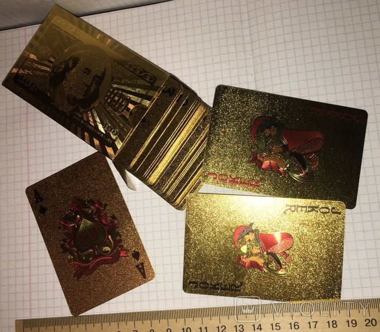 Позолоченные игральные карты (24K) 100 долларов / сувенірні гральні карти, 54 шт, фото №9