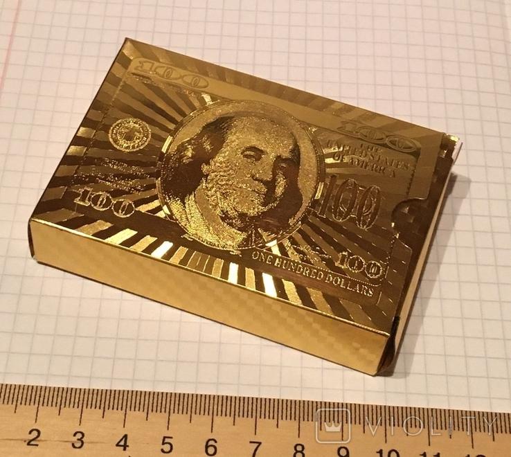 Позолоченные игральные карты (24K) 100 долларов / сувенірні гральні карти, 54 шт, фото №10