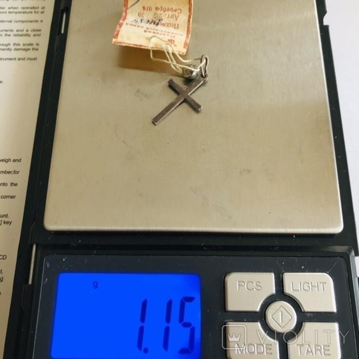 Крестик серебро 916 пробы вес1,15 гр винтаж СССР, фото №5
