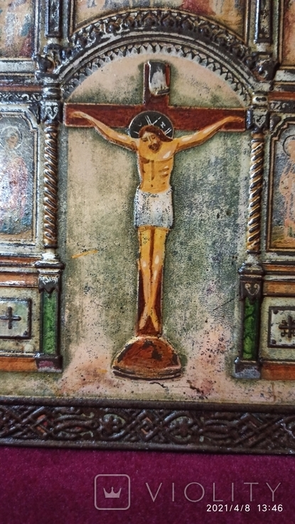 Старинная Икона Господа Иисуса Христа со святыми, фото №3