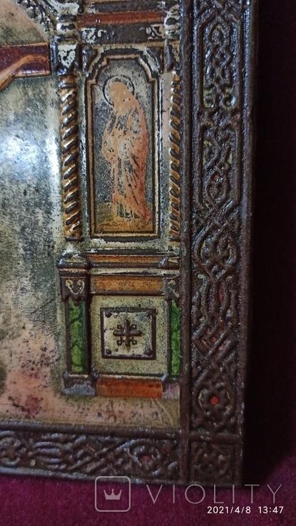 Старинная Икона Господа Иисуса Христа со святыми, фото №5