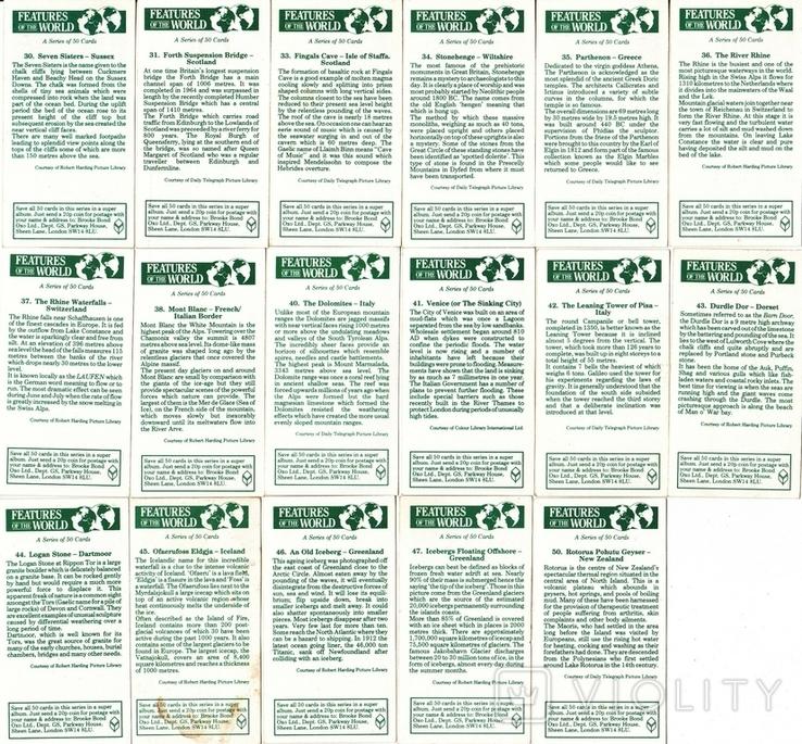 """Карточки-вкладыши коллекционные """"Features of the World""""(38 листов) Англия, фото №5"""