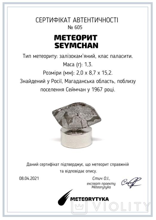 Заготовка-вставка з метеорита Seymchan, 1,3 г, із сертифікатом автентичності, фото №3