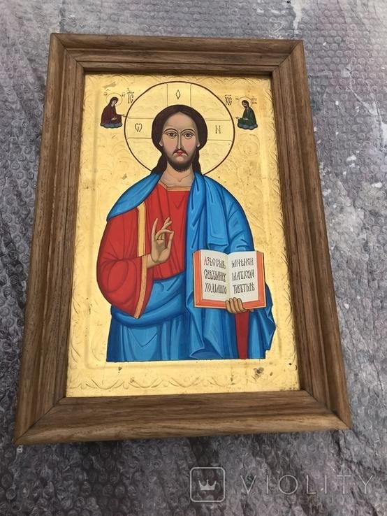Икона Иисуса Христа живопись на металле 47х32 см, фото №2