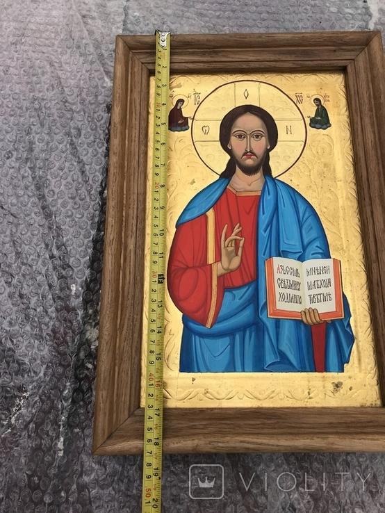 Икона Иисуса Христа живопись на металле 47х32 см, фото №5