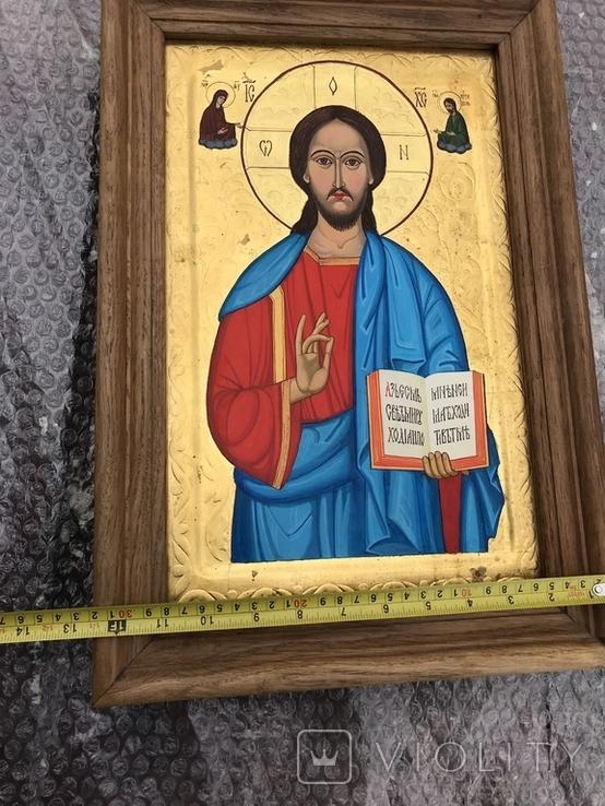 Икона Иисуса Христа живопись на металле 47х32 см, фото №6