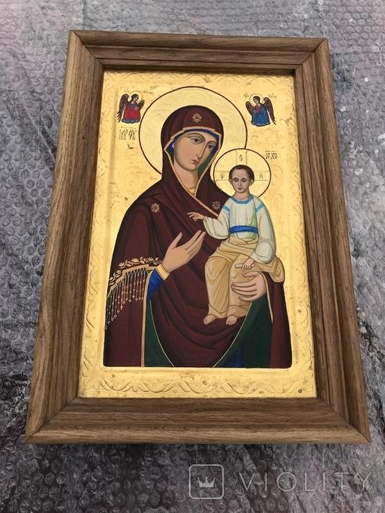 Икона Богородицы живопись на металле 47х32 см, фото №2