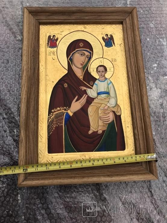 Икона Богородицы живопись на металле 47х32 см, фото №6