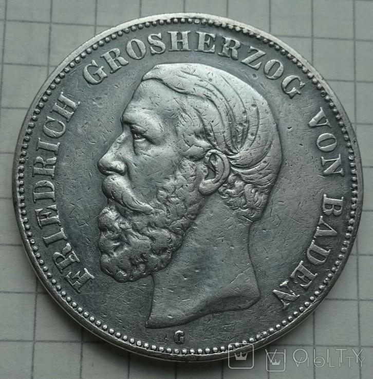 5 марок, 1888 год, Баден,, фото №2