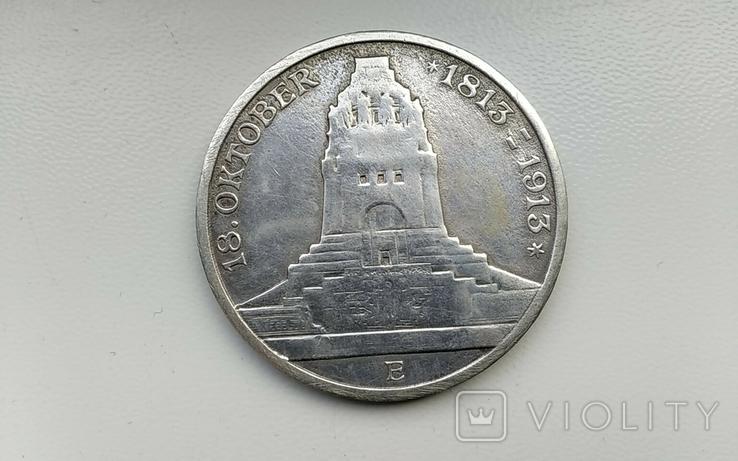"""3 марки 1913 г. Саксония. """" Битва народов """", фото №2"""