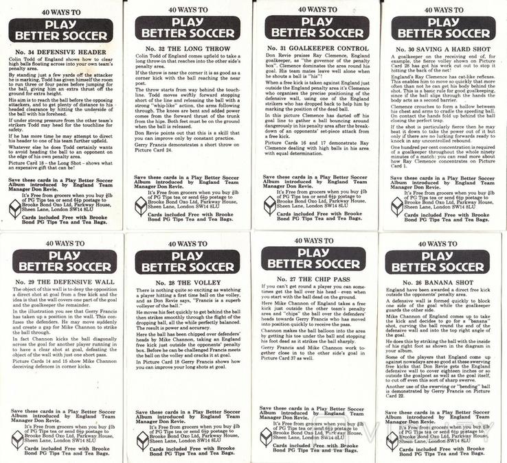 """Карточки-вкладыши коллекционные """"Play Better Soccer""""(29 листов) Англия, фото №5"""