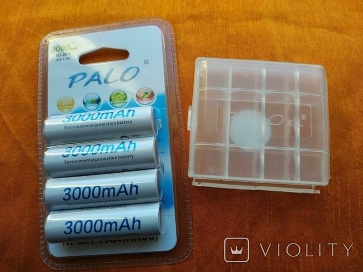 Аккумуляторы Palo АА 3000mAh 4 шт + Подарок, фото №2