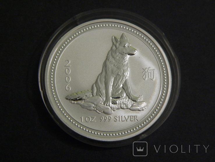 Австралия 1 Лунар - Год Собаки, 2006 - серебро 999, унция, 1 доллар, фото №2