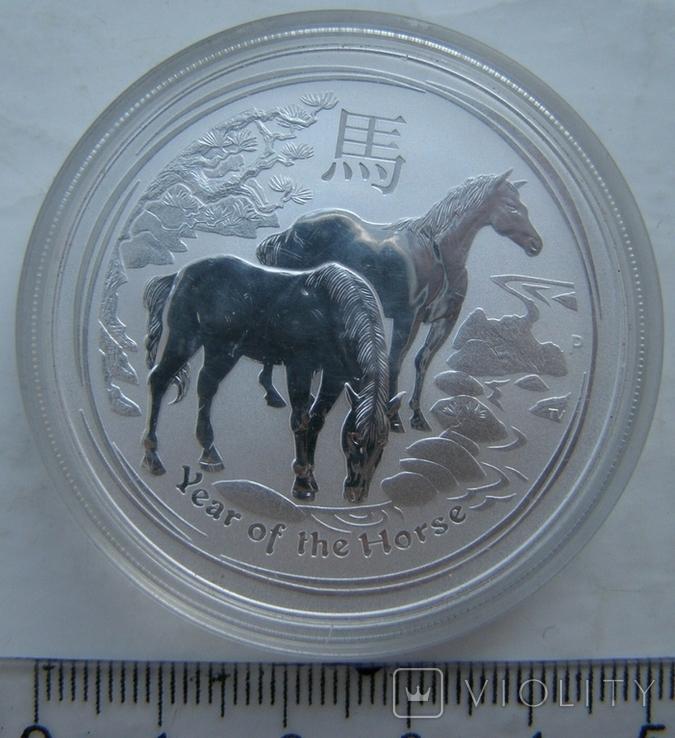 "Серебряная монета лунар ""Год Лошади, 2014 г., фото №2"