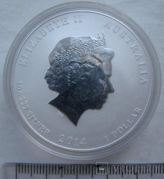 "Серебряная монета лунар ""Год Лошади, 2014 г., фото №3"