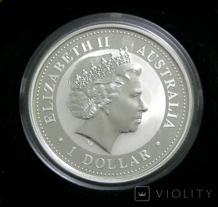 Год СОБАКИ, 1-й Лунар, Австралия, 2006 - унция, серебро ПОЗОЛОТА, фото №3