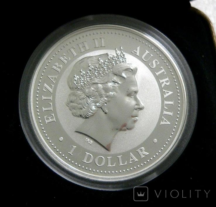 Год СВИНЬИ, 1-й Лунар, Австралия, 2007 - унция, серебро ПОЗОЛОТА, фото №3