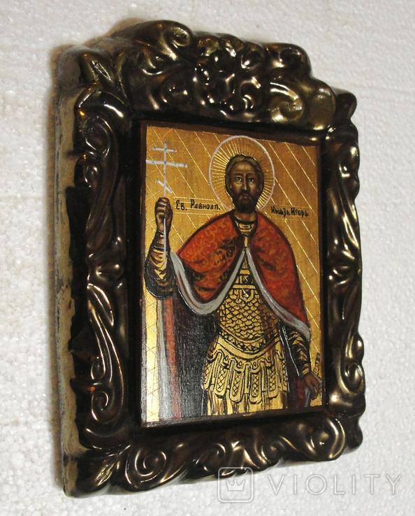 Икона дорожная Св. князь Игорь в старинной рамке, фото №2