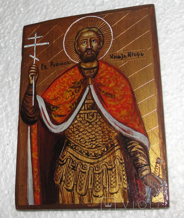 Икона дорожная Св. князь Игорь в старинной рамке, фото №7