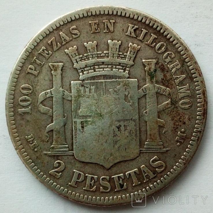 Испания 2 песеты 1870 г., фото №3
