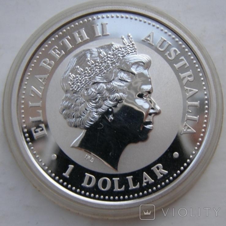 "Серебряная монета лунар ""Год Петуха"", 2005 г., фото №3"